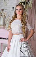 Свадебное кружевное болеро белое/белый кружевной кроп-топ