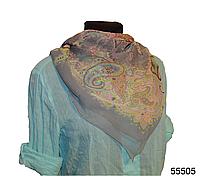 Легкий серый женский шелковый платок, фото 1