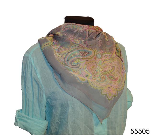 Купить легкий серый женский шелковый платок 1