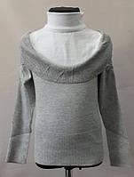 Рубашка-обманка  серая на девочку р. 125-160