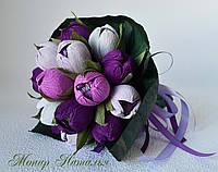 Букет ручной из нежных роз и конфет