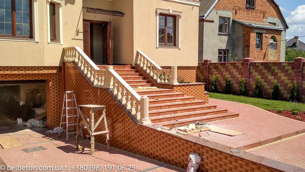 Балюстрада из бетона во Львове | Балясины желтые в Львовской области 13