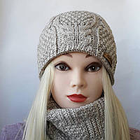 Женская шапка на флисе с хомутом ( Зина )