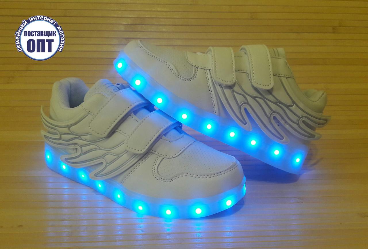 Кроссовки белые со светящей LED подошвой зарядка USB кабелем 34