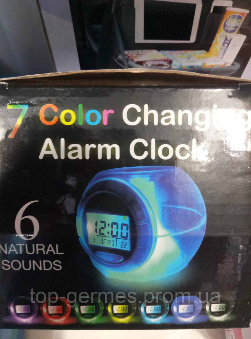 Светящийся будильник 7 цветов+звуки природы (видео