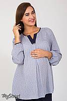 Романтичная блузка для беременных с, галстучный принт на белом