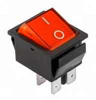Переключатель  IRS-201-1A крас. широкий PRK0006B (6 контактов, с подсветкой, 15A 250V AC, 20A 125V AC) KCD2