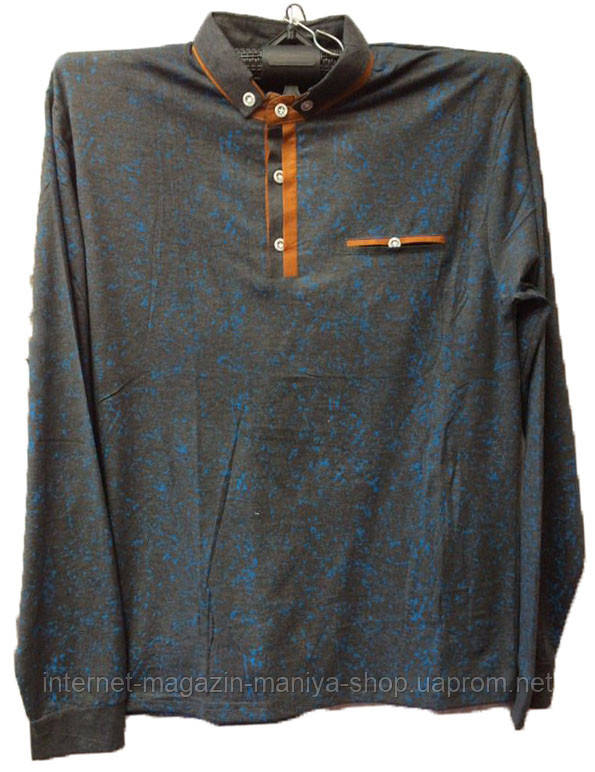 Пуловер мужской принт карман с воротником пуговицы поло (деми)