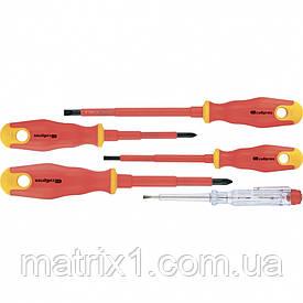 Набор отверток диэлектрических до 1000В, тестер, CrV,, двухкомпонентные рукоятки (5шт.), СибрТех