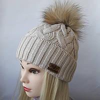 Молодежная вязаная шапка с подворотом и натуральным помпоном енот Г 102