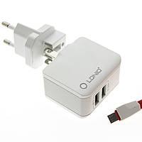 Сетевой адаптер (зарядное устройство) LDNIO A2203 2xUSB 2.4A + кабель Lightning
