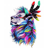 """Картина раскраска по номерам """"Несокрушимый лев"""" набор для рисования по схеме"""