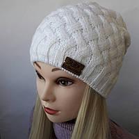 Молодежная вязаная шапка на флисе для девочки  Г 7