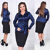 Классическая женская чёрная юбка с потайной змейкой сзади. крем-костюмка ксоф №4019