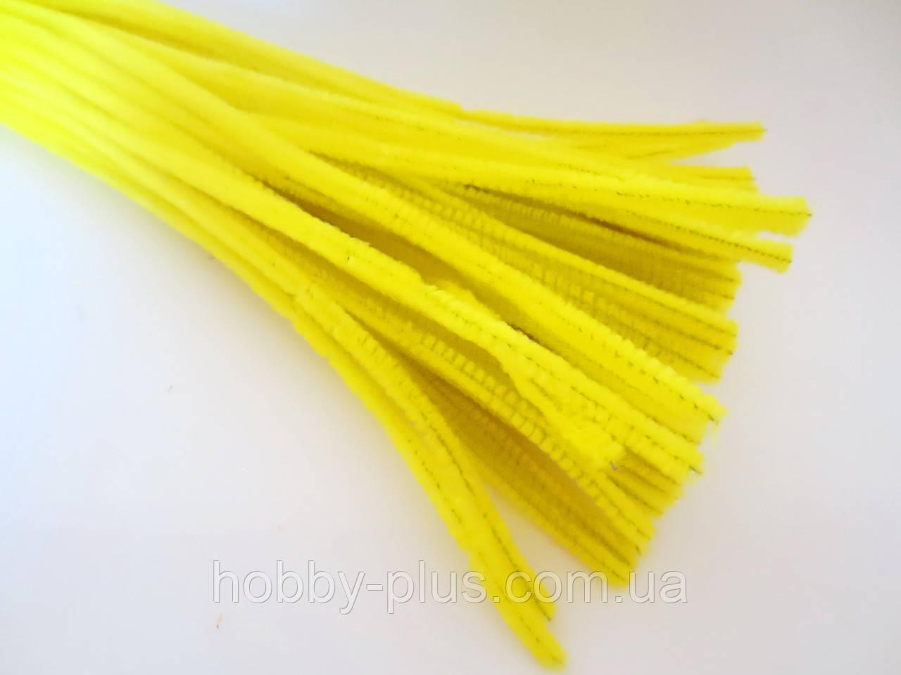 Синельная проволока, 30 см, цвет - желтый, 10 шт