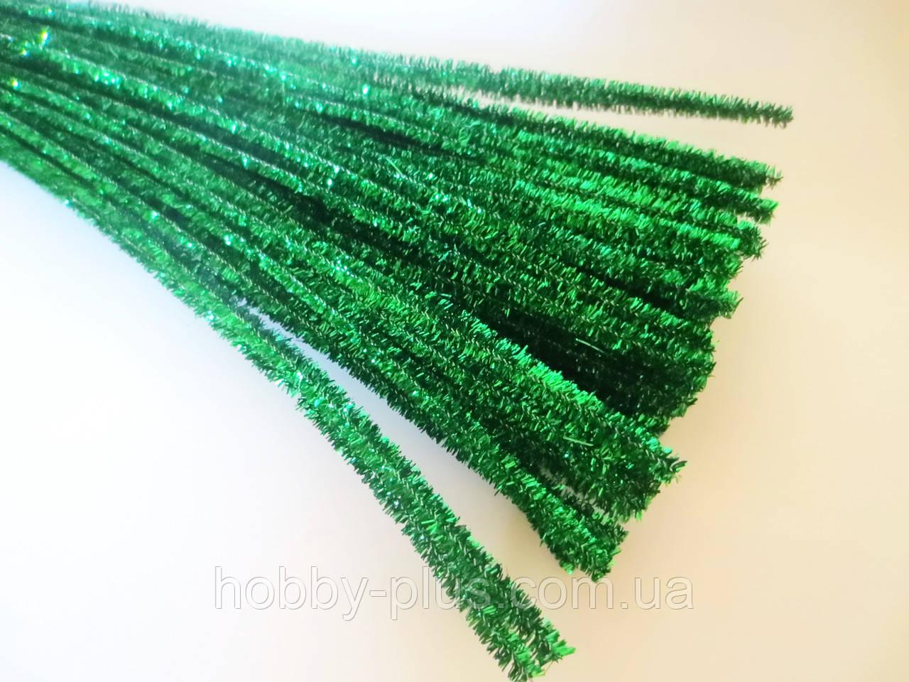 Синельная проволока, 30 см, цвет - зеленый, блестящий, 10 шт