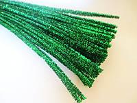 Синельная проволока, 30 см, цвет - зеленый, блестящий, 10 шт, фото 1