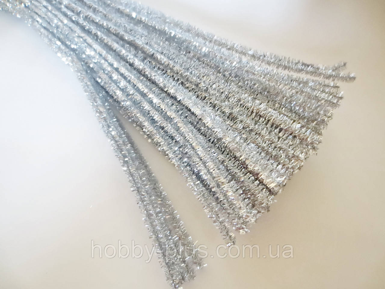 Синельная проволока, 30 см, цвет - серебро, блестящий, 10 шт
