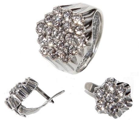 """Гарнитур """"Дижон"""" с кристаллами Swarovski, покрытый серебром (a4923200) (Кольцо 20 размер)"""