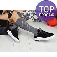 Женские кеды на шнуровке, велюровые, черные / кеды для девочек, модные