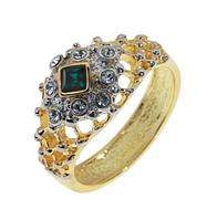 """Кольцо """"Шарлотта"""" с кристаллами Swarovski, покрытое золотом с родием (a053q070)"""