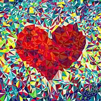 """Картина раскраска по номерам """"Мозаичное сердце"""" набор для рисования по схеме"""
