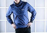 Анорак ветровка мужская Pobedov синяя (осень/весна) плащевка