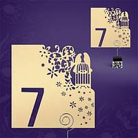 Номер на свадебный стол цвета айвори с высечкой