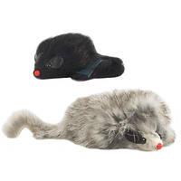 Pet Pro МЫШЬ ДЛИННОШЕРСТНАЯ с пищалкой игрушка для котов, 9 см