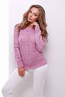 Вязаный свитер №21 р. 44-50 (универсал) сирень