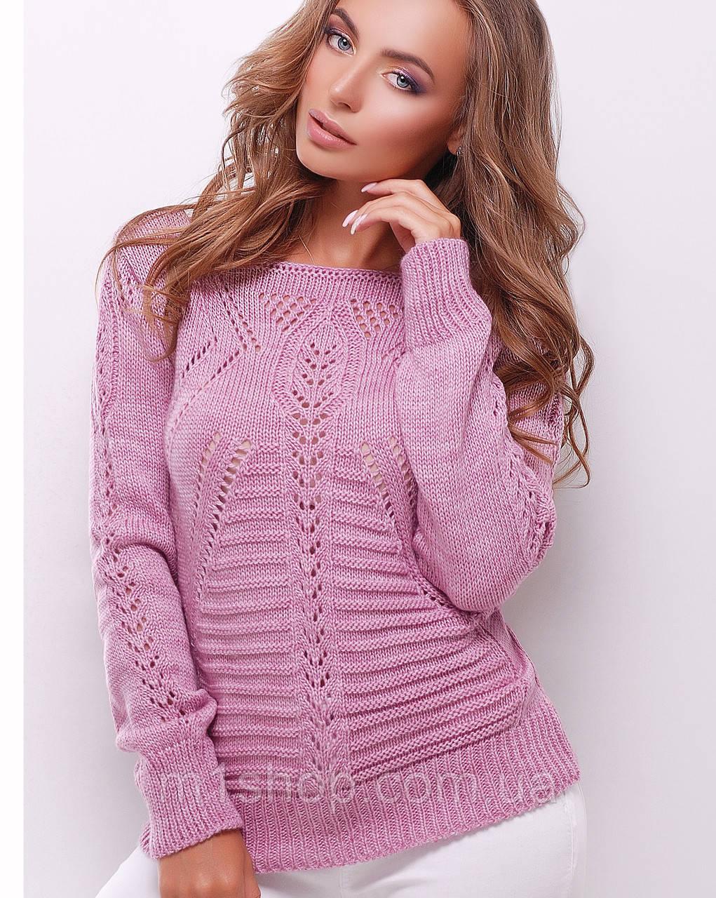 Женский вязаный однотонный свитер лодочкой (21 mrs)