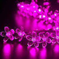 Светодиодная гирлянда на солнечной батарее Лютики розовый