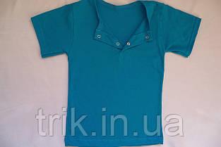Бирюзовая детская футболка для девочек застежка-кнопка, фото 2