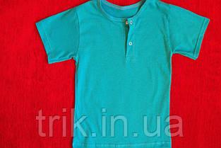 Бирюзовая детская футболка для девочек застежка-кнопка, фото 3