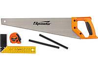 Набор столярный, 5 предметов, карандаш 2 шт, ножовка 450 мм, рулетка, угольник строительный Sparta