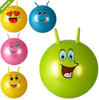 МЯЧ ДЛЯ ФИТНЕСА MS 0739 с рожками, 45см,смайл, одностикерный,450г, 5видов, в кульке NN