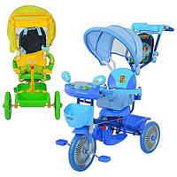 Велосипед ET A 24-9-1 три колеса, метал., 2 цв:голуб/зел,муз, свет,колясочн.ручка,рюкзак DCM