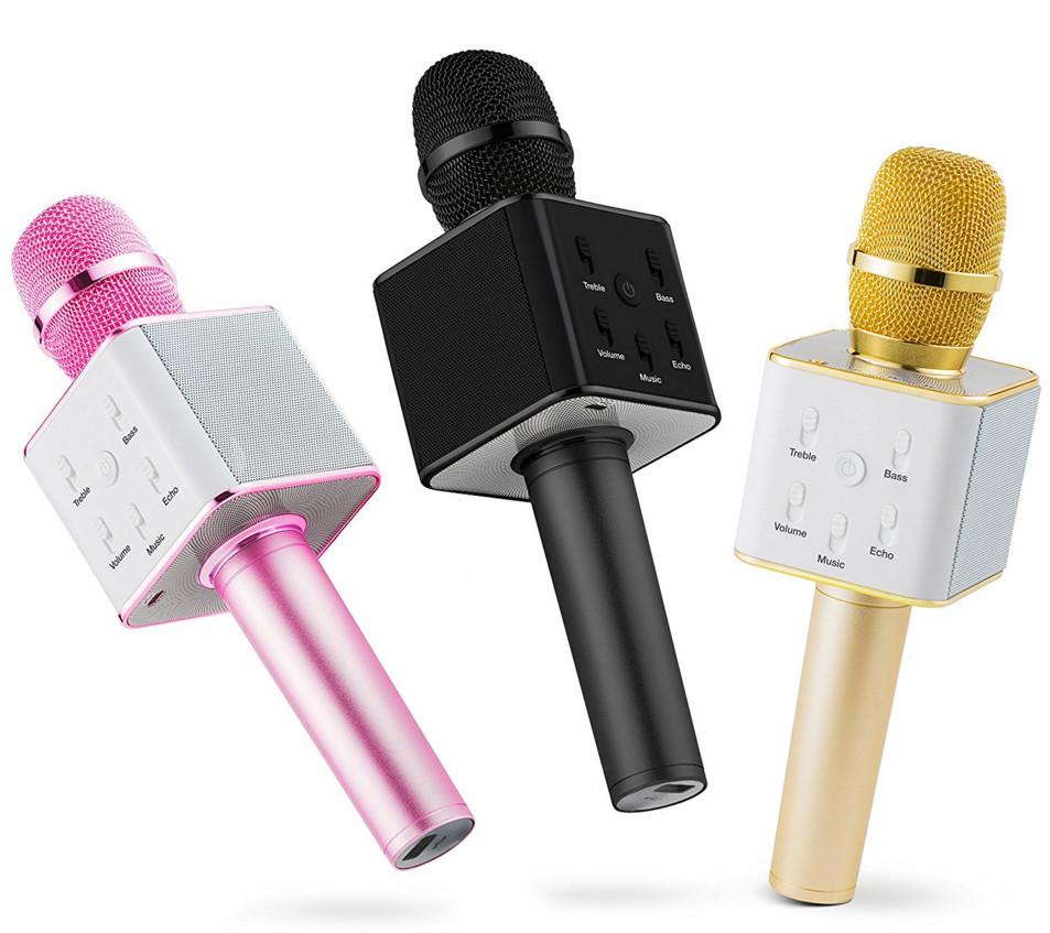 Беспроводной микрофон-караоке bluetooth Q7(коробка) серебро\золото