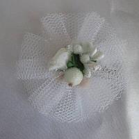 Заколочка для волосся ручної роботи, 6 см, біла