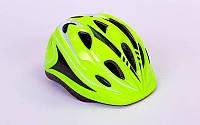 Велошлем салатовый для роликов, скейтов, велосипедов с регулировкой по объему головы 54-56 см.