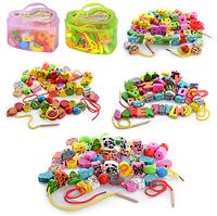 Деревянная игрушка Шнуровка MD 0344 фигурки – бусы с отверстиями для шнурования и разноцветными шнурками, 4 вида, в пластиковом чемодане 14,5-13,5-9