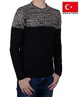 Мужской пуловер с узором, черно-бежевый.