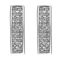178100Серьги из серебра с куб. циркониями  белый