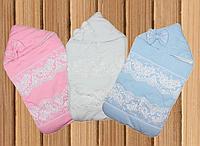 Нарядный конверт одеяло с уголком для новорожденных на выписку весна/осень 80х80см Метелик (Little Angel)