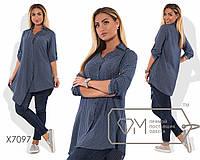Стильная женская рубашка синяя большого размера (3 цвета) VV/-051