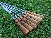 Шампур с ореховой ручкой и бронзовыми оковками (3мм, 70см,6шт в чехле)