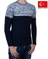 Модный молодежный свитер, темно-синий с белым.