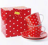 """Фарфоровая чашка с блюдцем MR10032-05/06 Maestro """"горошек"""" (red) ZX"""