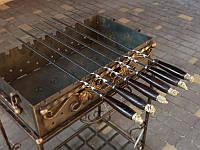 Набор шампуров с деревянной ручкой и бронзовыми навершиями 10шт. в чехле (3мм, 70см)