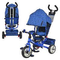 Велосипед М 5363-7 EVA Foam, три колеса, колясочный, голубо-синий, усиленная двойная ручка KZC
